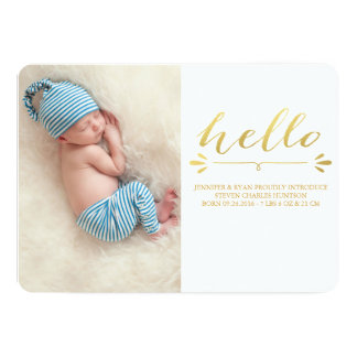 GOLD MODERN BIRTH ANNOUNCEMENT PHOTOCARD