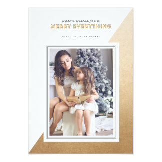 Gold Modern Color Blocked Christmas Photo Card 13 Cm X 18 Cm Invitation Card