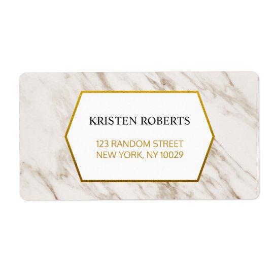 Gold Modern | Marble Wedding Address Label