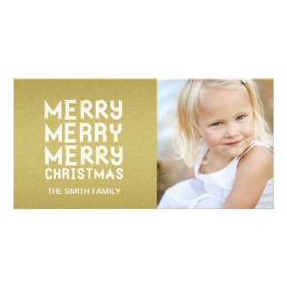 GOLD MODERN MERRY CHRISTMAS HOLIDAY PHOTO CARD
