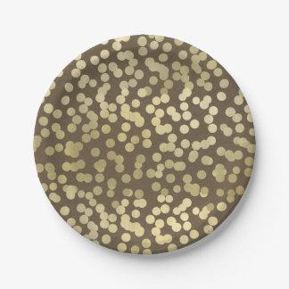 Gold Modern Rustic Kraft Chic Elegant Trendy Paper Plate