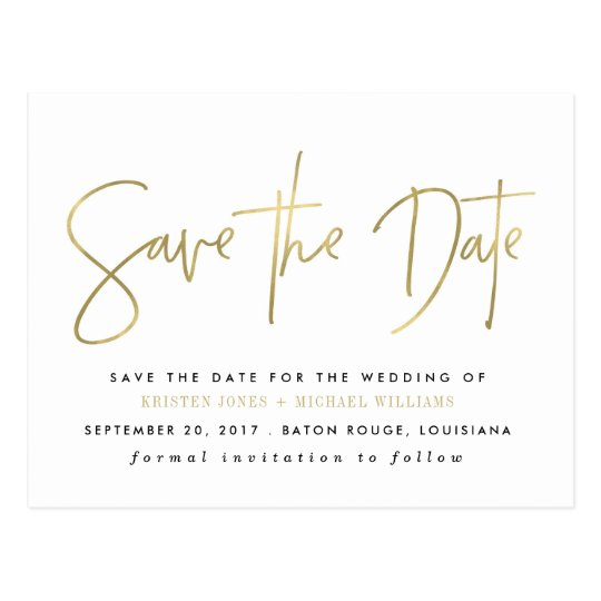 Gold Modern Save the Date Postcard