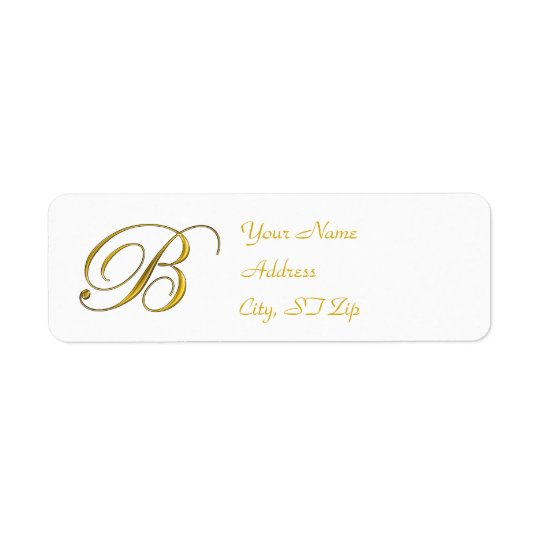 Gold Monogram B Return Address Labels