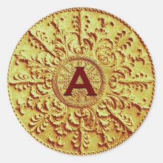 Gold Monogram Baroque Vintage Wedding E602 Classic Round Sticker