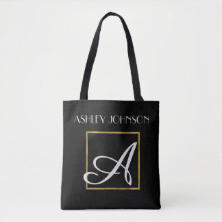 Gold Monogram Book Bag for High School | College