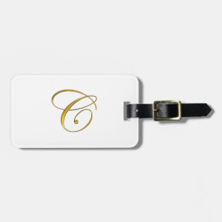 Gold Monogram C Luggage Tag