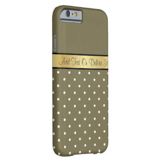 Gold Monogram Chic Loden Green & White Polka Dots Barely There iPhone 6 Case