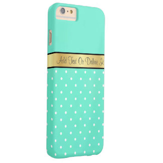 Gold Monogram Chic Mint Green & White Polka Dots Barely There iPhone 6 Plus Case