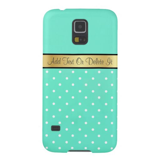 Gold Monogram Chic Mint Green & White Polka Dots Galaxy S5 Cases