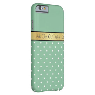 Gold Monogram Chic Peapod Green & White Polka Dots Barely There iPhone 6 Case