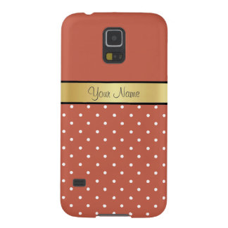 Gold Monogram. Chic Rust Red And White Polka Dots Galaxy S5 Case