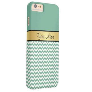 Gold Monogram Chic Spearmint Green & White Chevron Barely There iPhone 6 Plus Case