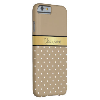 Gold Monogram. Chic Starfish Brown White Polka Dot Barely There iPhone 6 Case