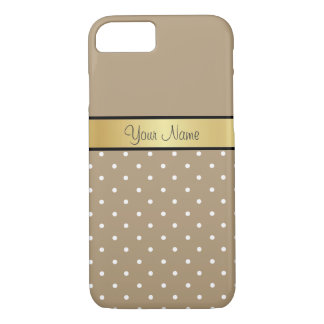 Gold Monogram. Chic Starfish Brown White Polka Dot iPhone 7 Case