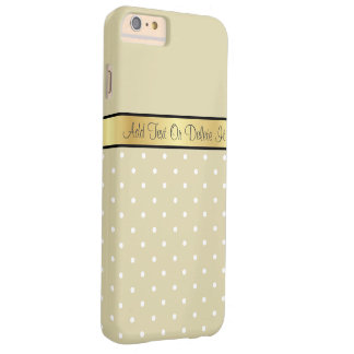 Gold Monogram Chic Warm Cream Tan White Polka Dots Barely There iPhone 6 Plus Case