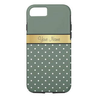 Gold Monogram. Elegant Sage Green White Polka Dots iPhone 8/7 Case