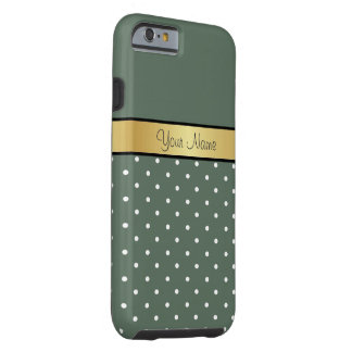 Gold Monogram. Elegant Sage Green White Polka Dots Tough iPhone 6 Case