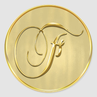 Gold Monogram F Seal Wedding Invitation Holiday Round Sticker