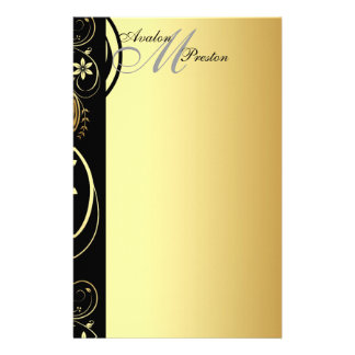 Gold Monogram Floral Scroll Wedding Stationary Stationery