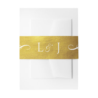 Gold Monogram Glam and Elegant Wedding Belly Band Invitation Belly Band