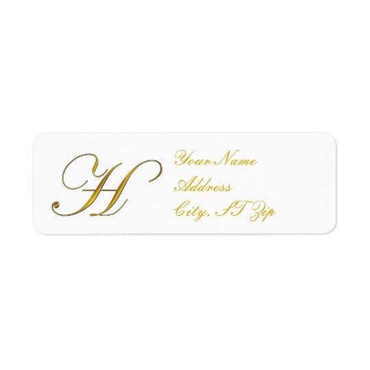 Gold Monogram H Return Address Labels