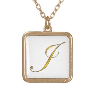 Gold Monogram J Initial Necklace