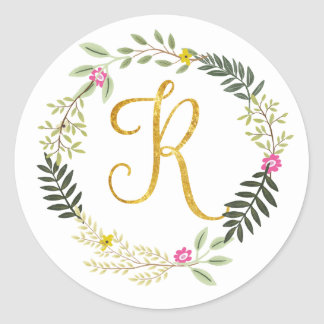 Gold Monogram Leaf R Classic Round Sticker