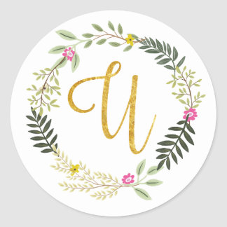 Gold Monogram Leaf U Classic Round Sticker