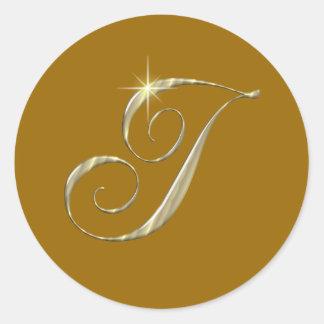 Gold Monogram Letter I initials Classic Round Sticker