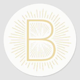 Gold Monogram Letter Shining Gold Rays Classic Round Sticker