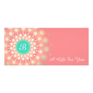 Gold Monogram Mandala Pink Coral Gift Certificate Customized Rack Card