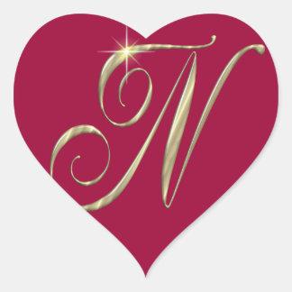 Gold monogram Ni initials merchandise Sticker