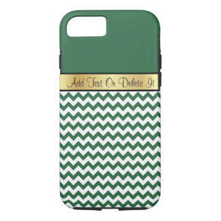 Gold Monogram On Chic Billiard Green White Chevron iPhone 7 Case