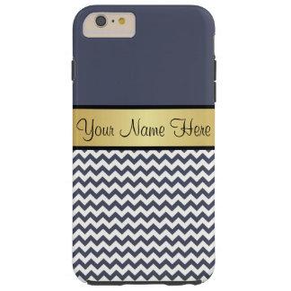 Gold Monogram On Chic Delft Blue & White Chevron Tough iPhone 6 Plus Case