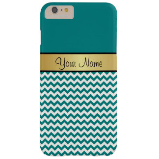 Gold Monogram On Teal Blue Green & White Chevron Barely There iPhone 6 Plus Case
