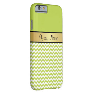 Gold Monogram On Tender Shoots Green White Chevron Barely There iPhone 6 Case