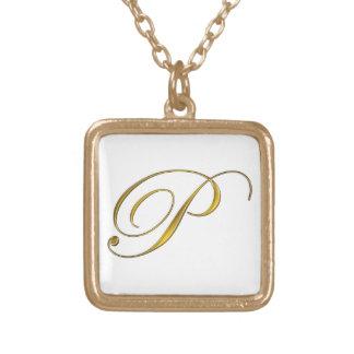 Gold Monogram P Initial Necklace