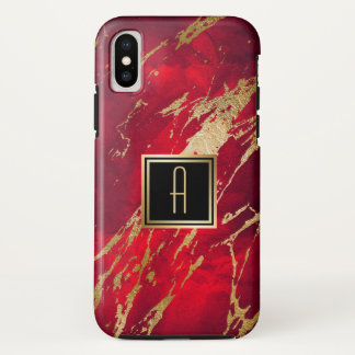Gold Monogram Paint Splash iPhone X Case