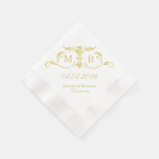 Gold monogram personalized paper napkins