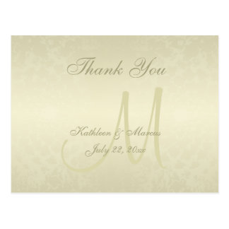 Gold Monogram Picture Thank You Postcard