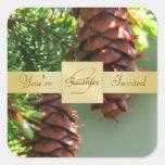 Gold Monogram Pinecone Holiday Square Sticker