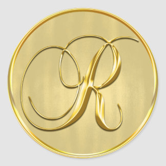 Gold Monogram R Seal Wedding Invitation Holiday