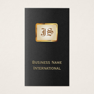 Gold Monogram Royal Black Business Card