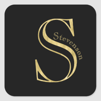 Gold Monogram S and Name on Any Color Square Sticker