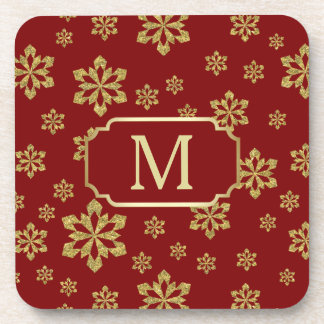 Gold Monogram Snowflake on Maroon Red Coaster