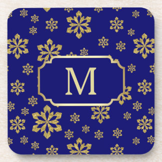 Gold Monogram Snowflake on Royal Blue Coaster