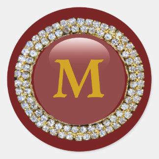 Gold Monogram Round Stickers