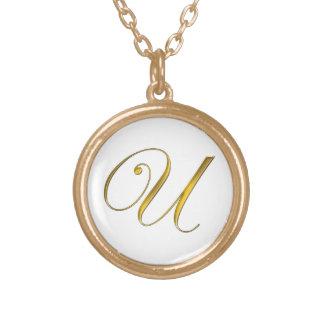 Gold Monogram U Initial Necklace