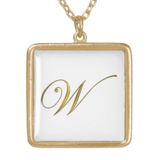 Gold Monogram W Initial Necklace