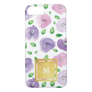 Gold Monogram Watercolor Floral Pattern iPhone 8/7 Case